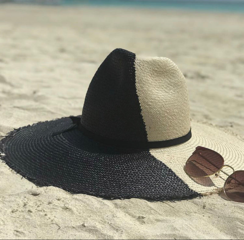 Fashion Bomb Daily x Frances Grey Panama Straw Hat in Black and Cream (No Frayed Edge)