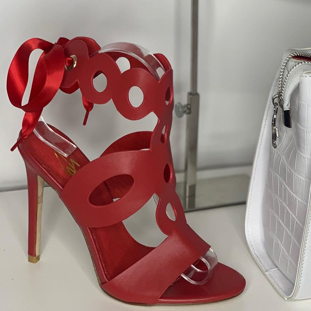 Josephine Valerie Olivia Red Cut Out Sandals