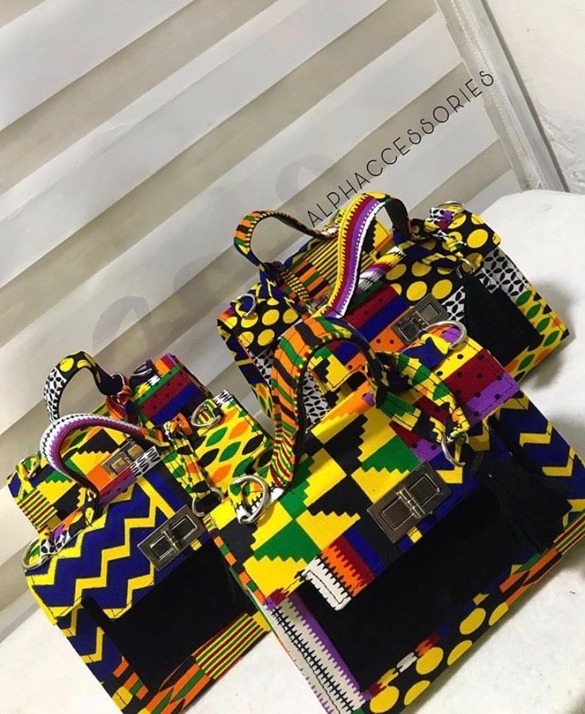 Olayemii Breonna Ankara Printed Bag with Matching Headwrap