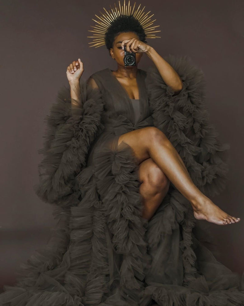 Oyemwen Cocoa Brown Tulle Robe
