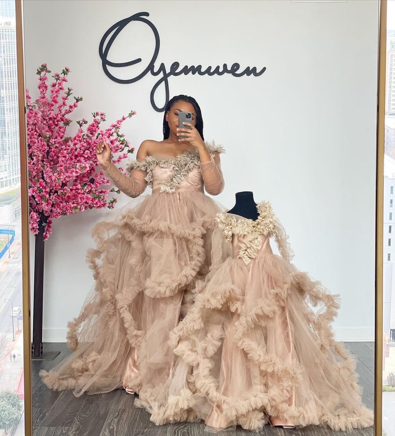 Mommy and Me Oyemwen Off the Shoulder Nude Tulle Robe Set