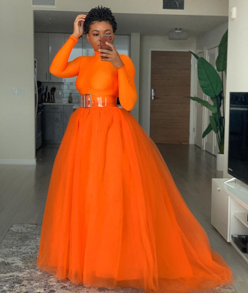 Oyemwen Orange Ball Skirt Set