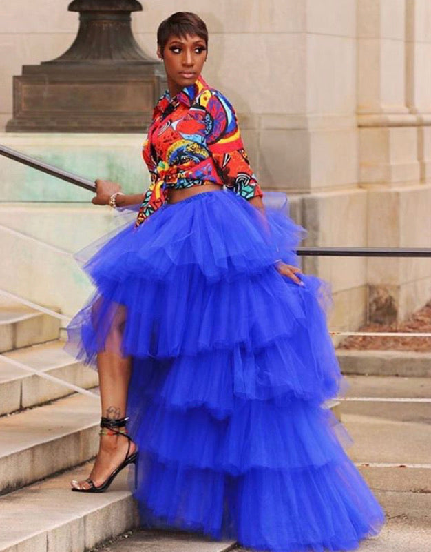 Oyemwen Tiered High Low Tulle Maxi Tutu Skirt Royal Blue