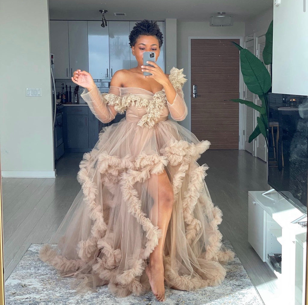 Oyemwen Off the Shoulder Nude Tulle Robe