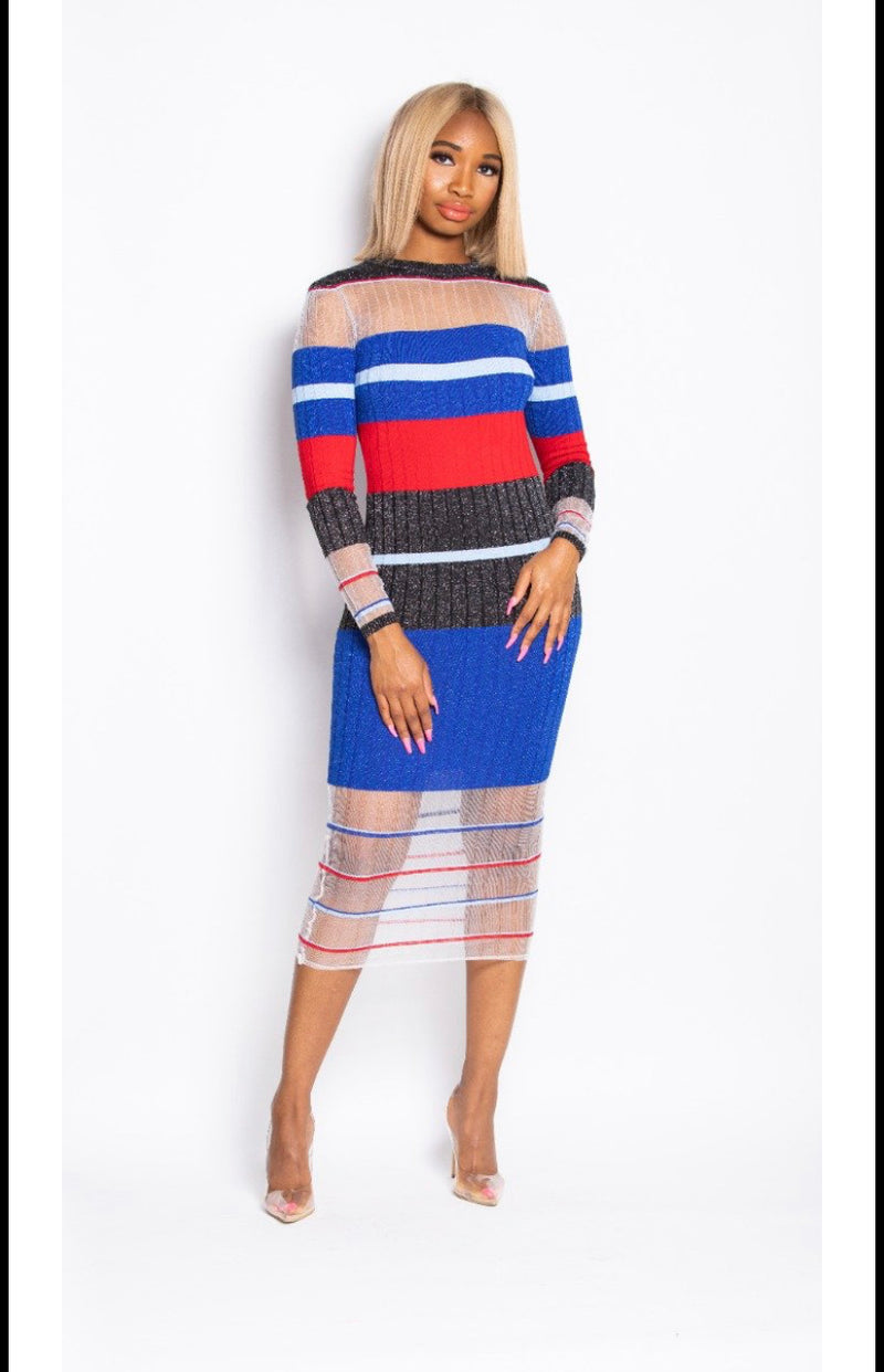 Madam Mystique Janelle Red, White and Blue Striped Dress