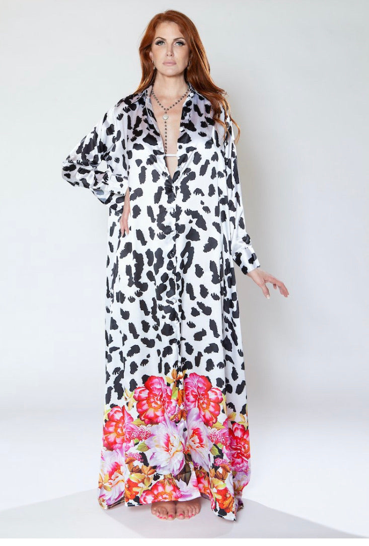 Sai Sankoh White Floral Cheetah Print Shirt Dress