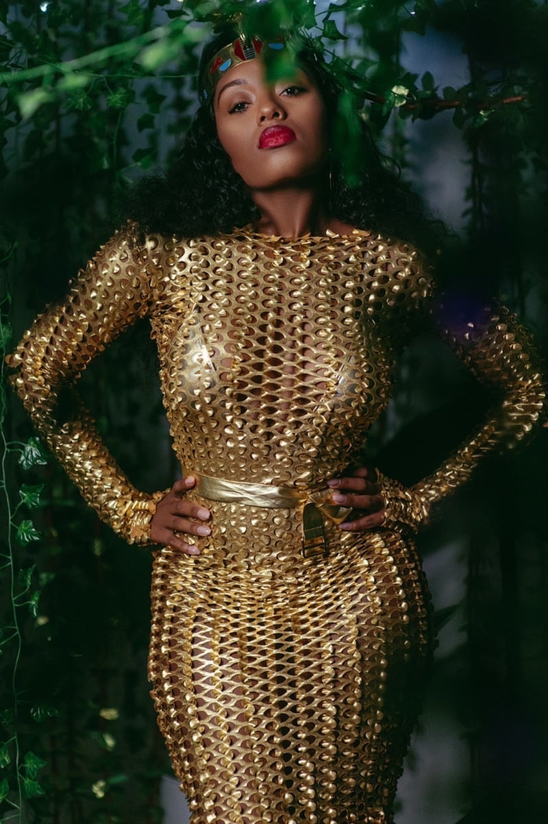 Allure Novembre 22 Karat Long Sleeve Gold Rush Net Cover Up