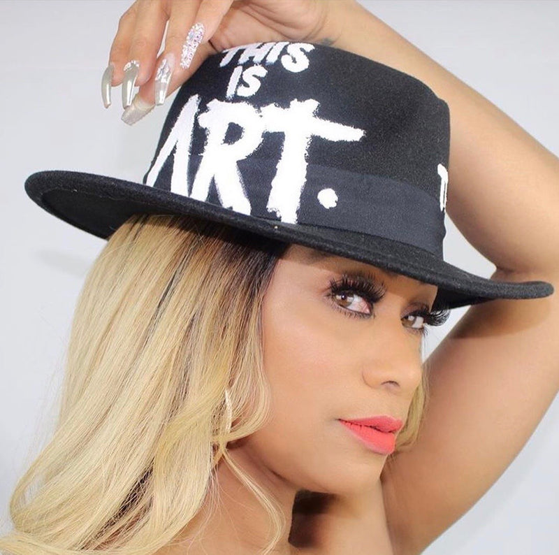High End Junkie Black Socialite Hand Painted Fedora As Worn by Tami Roman