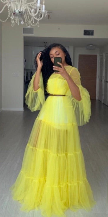 Oyemwen Custom 70's Yellow Sheer Dress