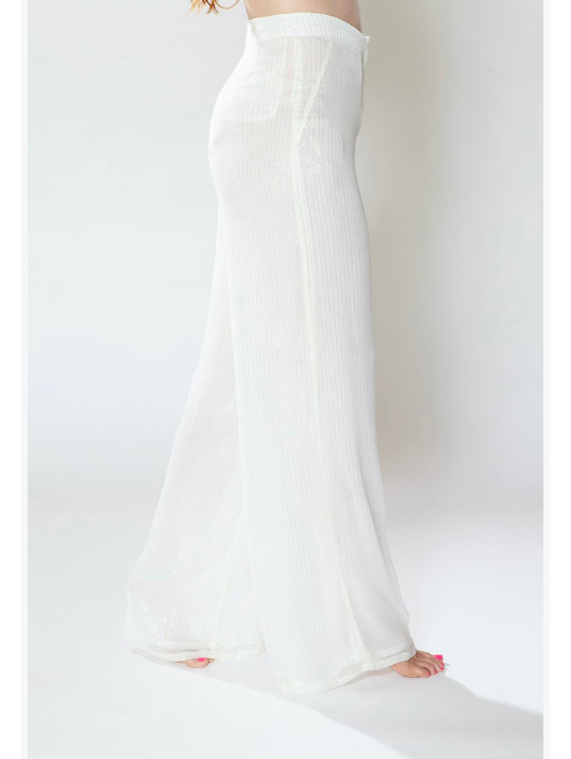 Sai Sankoh White Lurex Pants