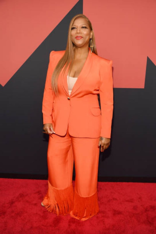 Sergio Hudson Orange Silk Belted Blazer as Worn by Queen Latifah and Beyonce