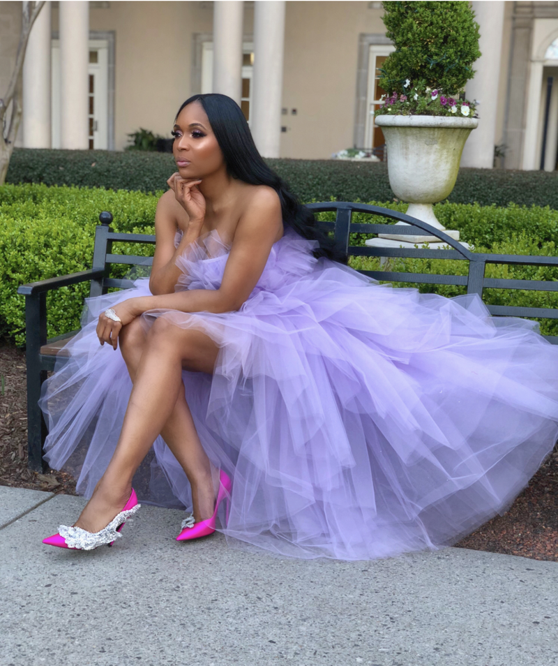 Oyemwen Veronica Tiered High Low Tulle Maxi Tutu Dress Lavendar