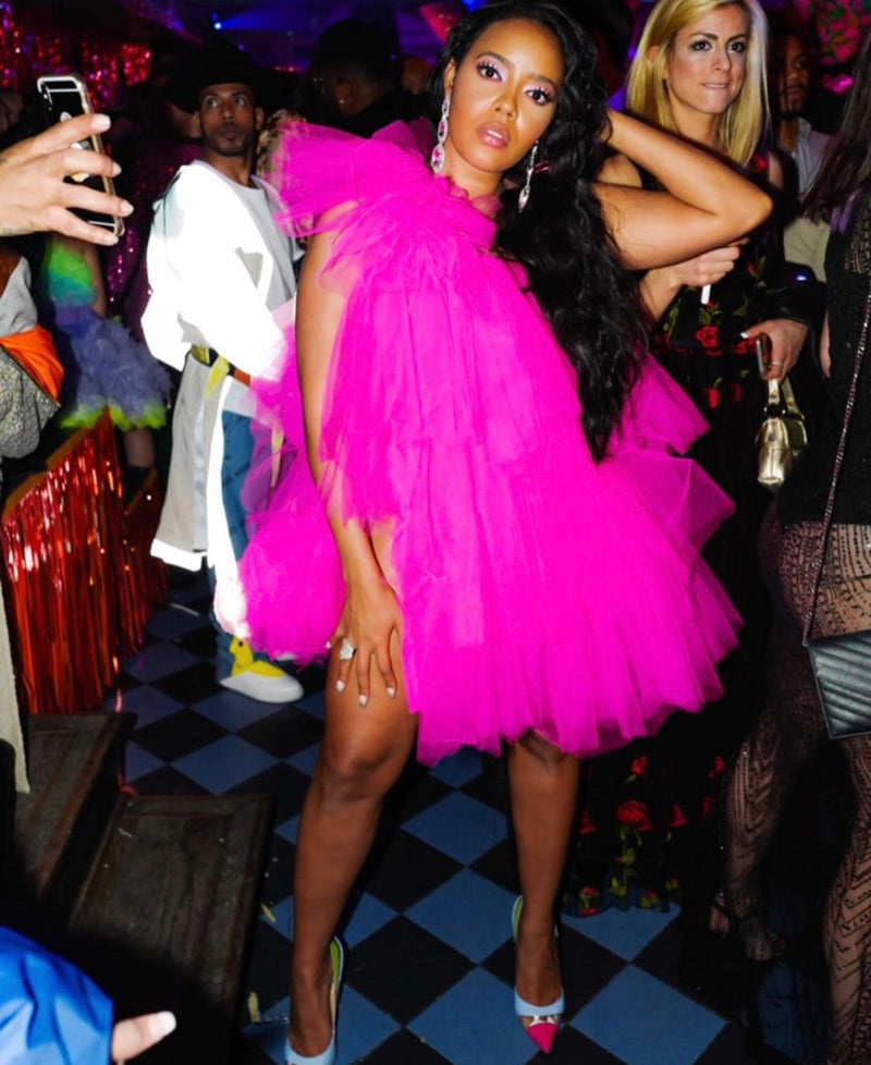Oyemwen Tulle One Shoulder Tutu Mini Dress Pink (Custom Colors Available)