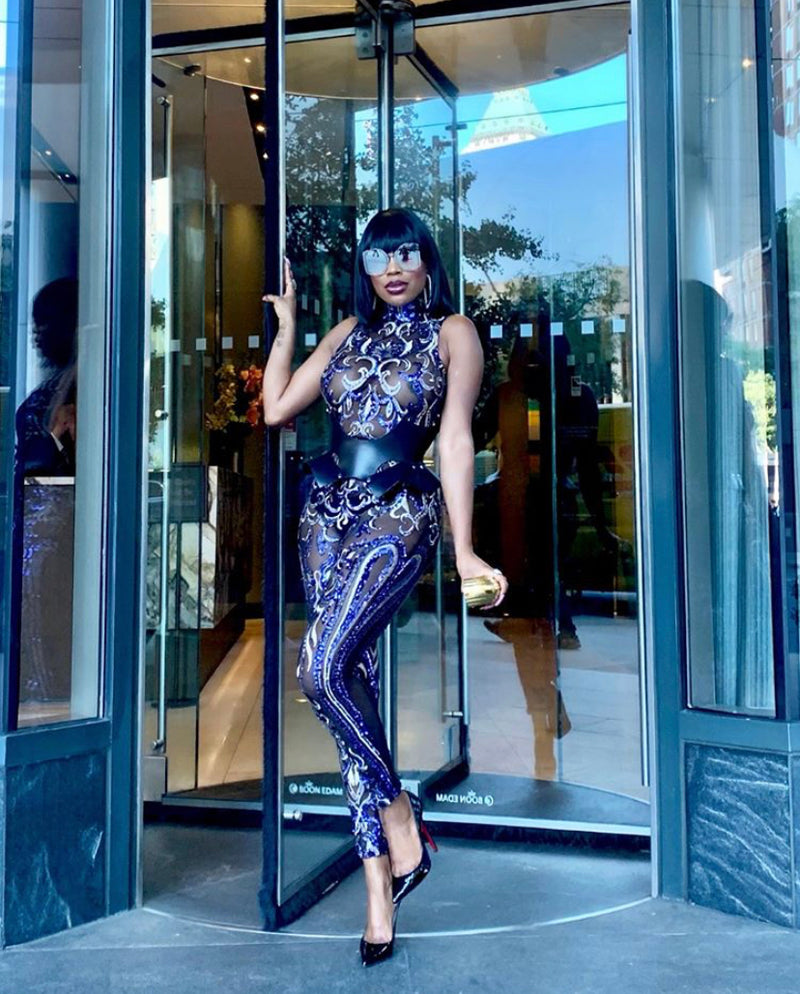 Madam Mystique Katerina Purple and Black Sheer Sequin Jumpsuit