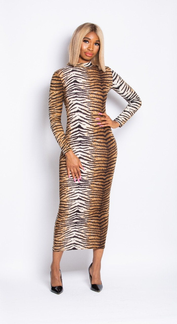Madam Mystique Tiger Print Nefertiti Bodycon Dress
