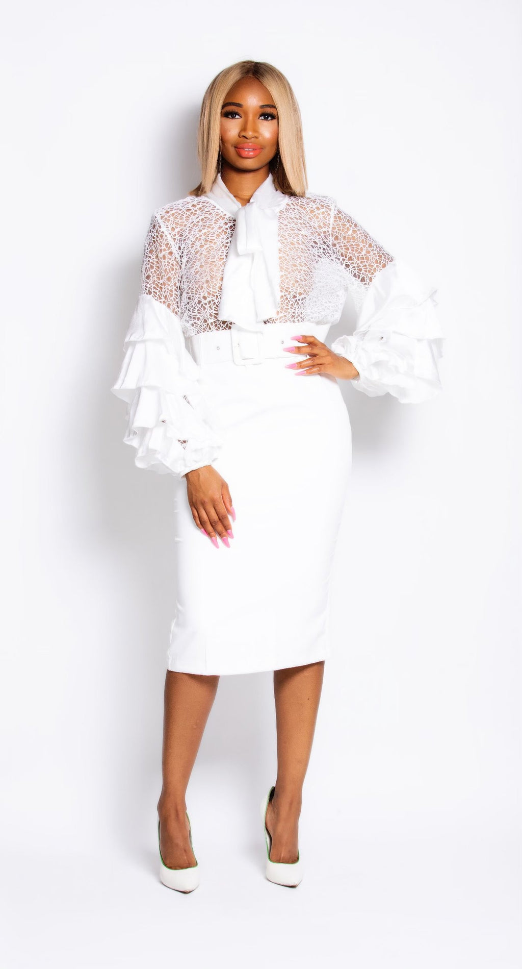 Madam Mystique White Pencil Skirt