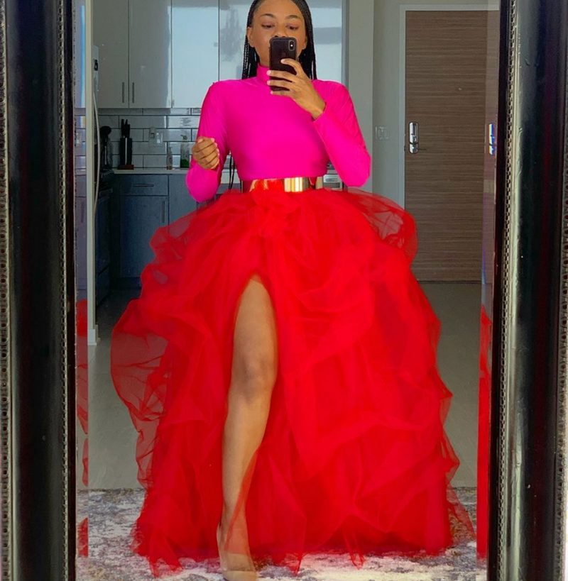 Oyemwen High Slit Maxi Tutu Skirt Red