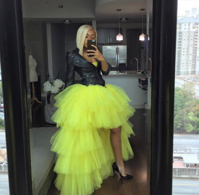 Oyemwen Tiered High Low Tulle Maxi Tutu Skirt Bright Yellow