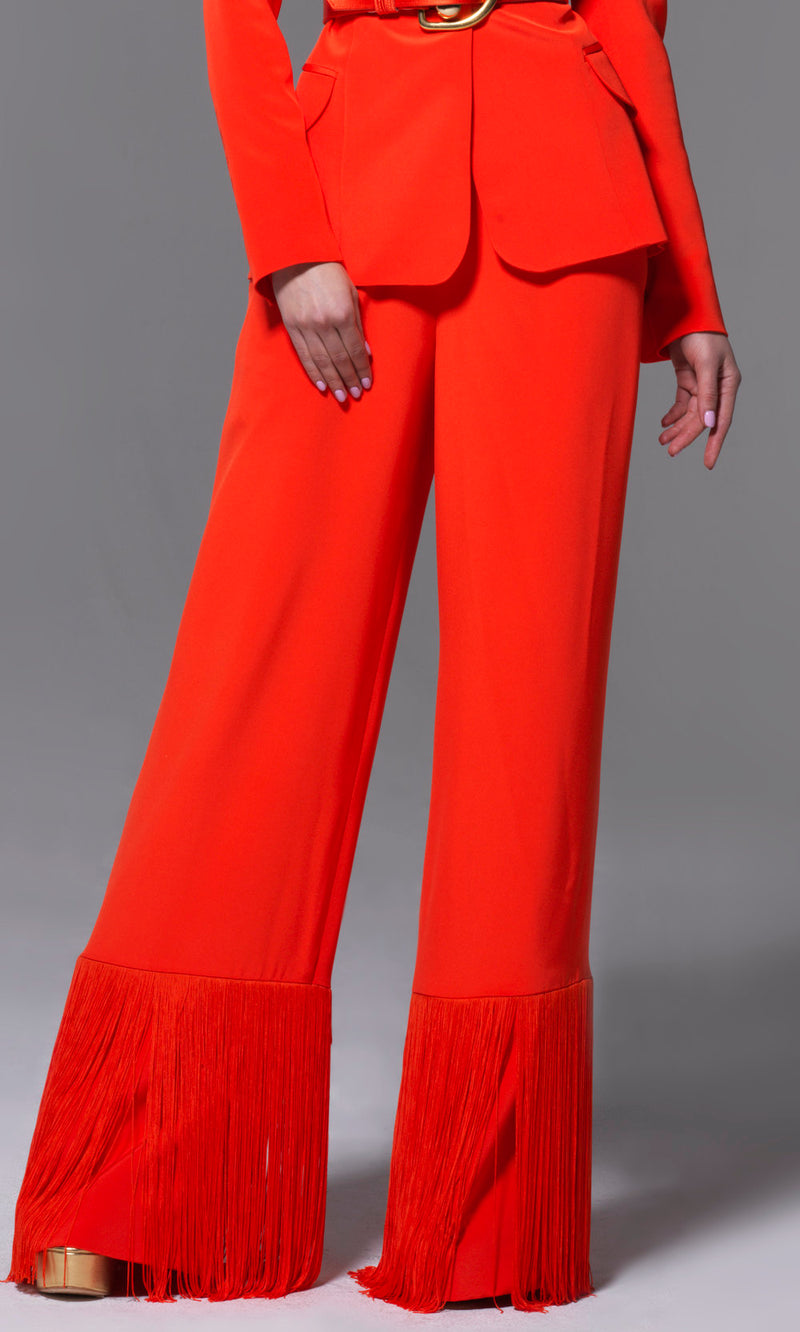 Sergio Hudson High Waist Wide Legged Orange Fringed Pants As Worn by Beyonce and Queen Latifah