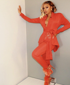 S. Denton Collection Orange Peplum Suit