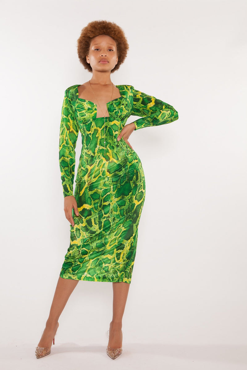 Sai Sankoh Green Snakeskin Bella Pencil Dress
