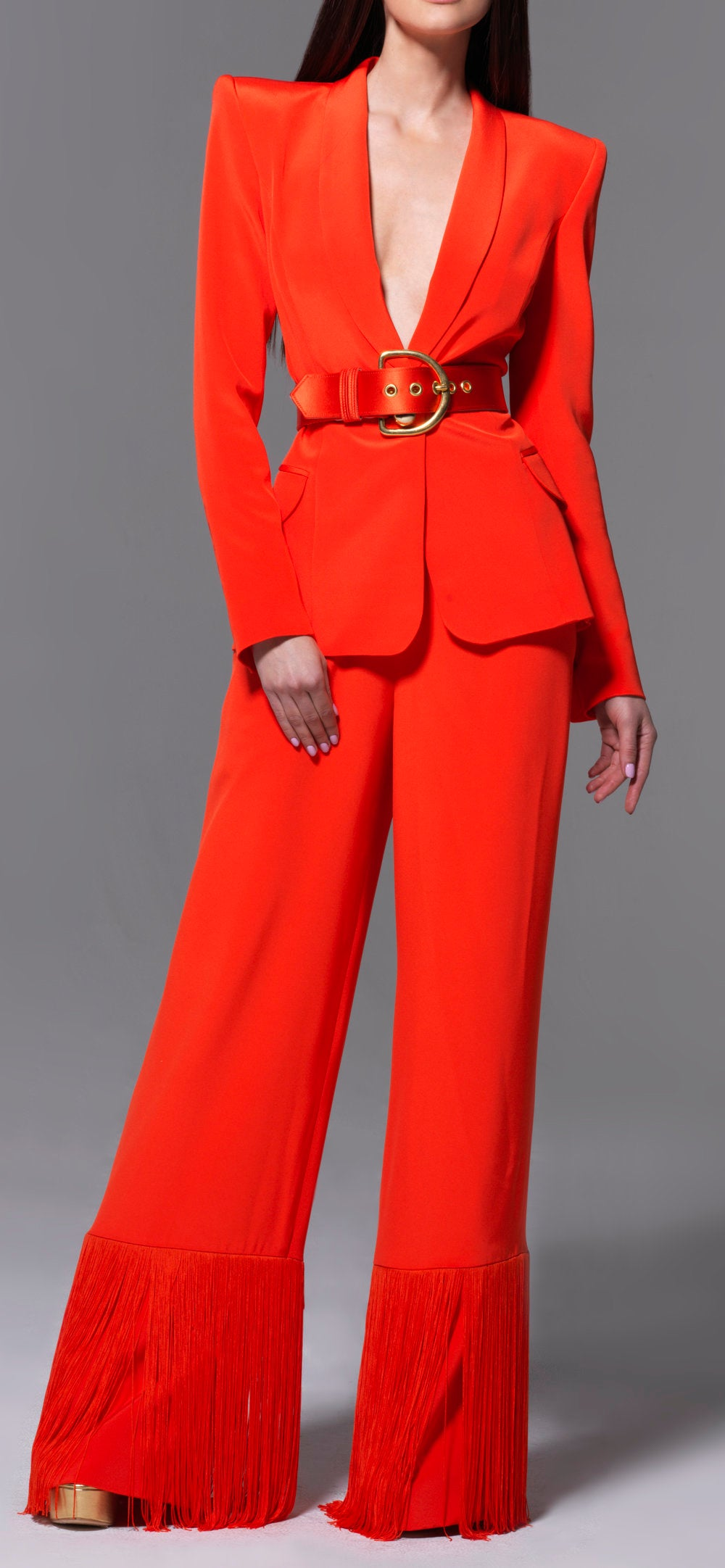 Sergio Hudson Orange Silk Belted Blazer