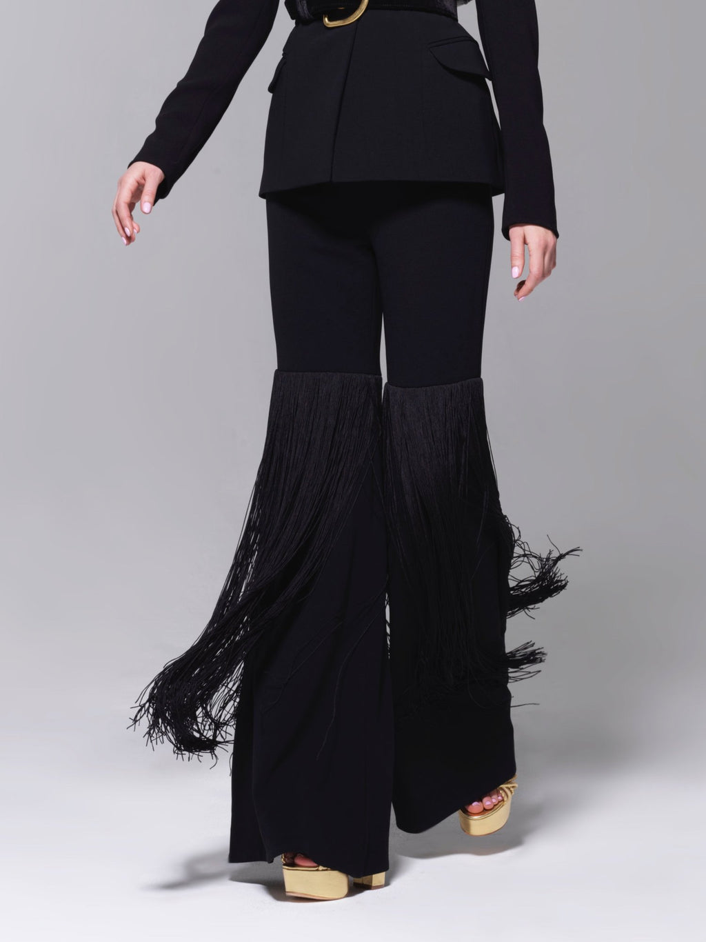 Sergio Hudson Bell Bottom Extreme Fringe Pants as Worn by Tracee Ellis Ross (Available in Black)