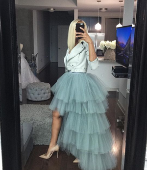 Oyemwen Tiered High Low Tulle Maxi Tutu Skirt  Gray
