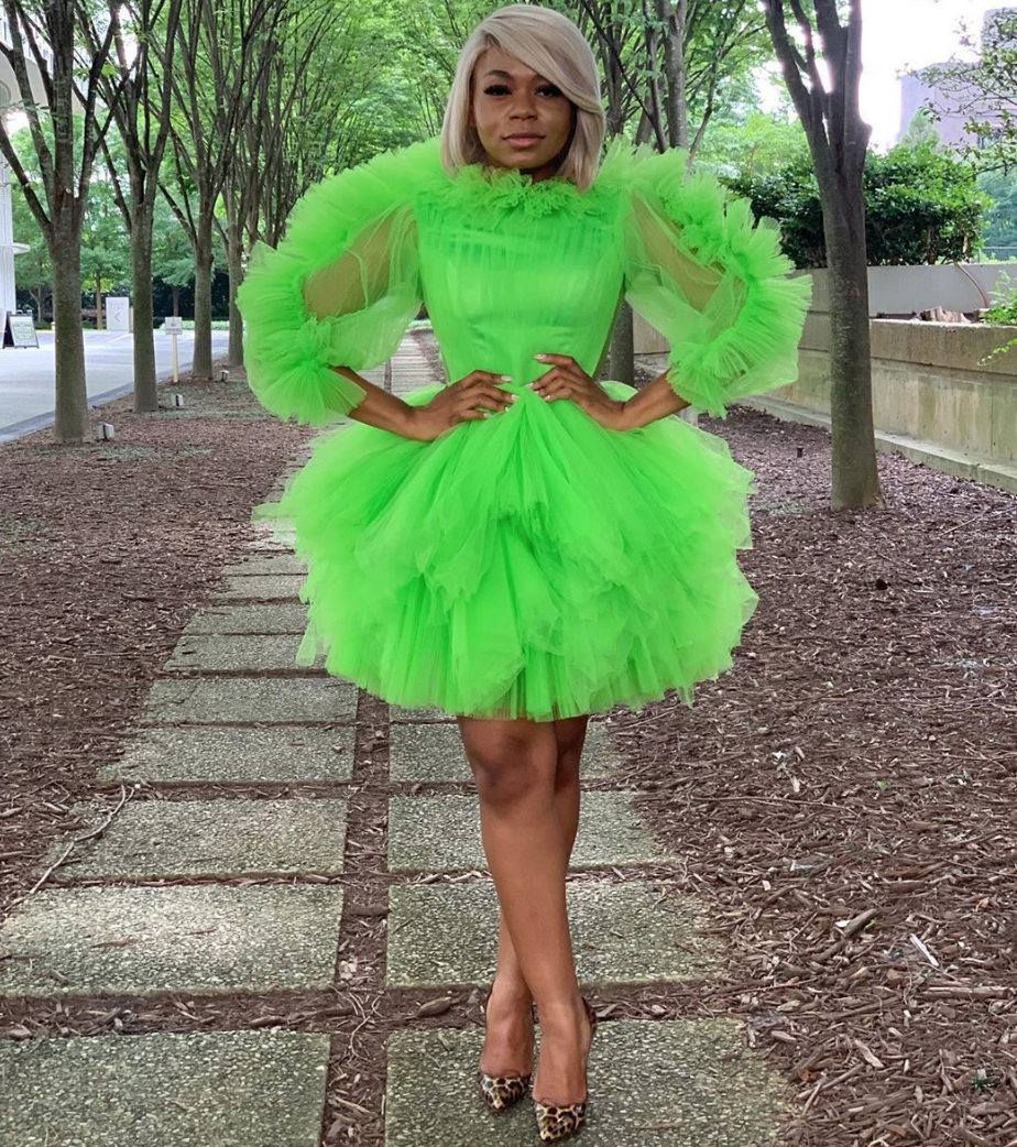 Oyemwen Tulle Long Sleeve Cocktail Dress Neon Green (Custom Colors Available)