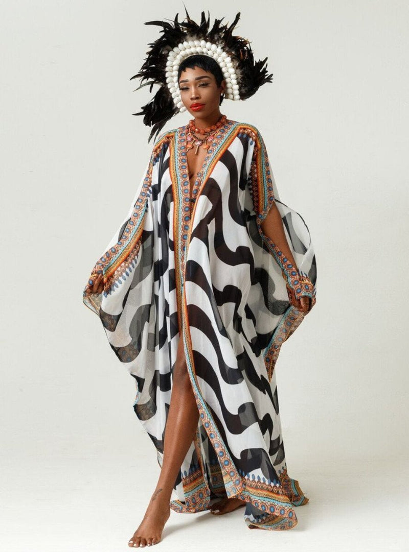 Sai Sankoh Black And White Kaftan