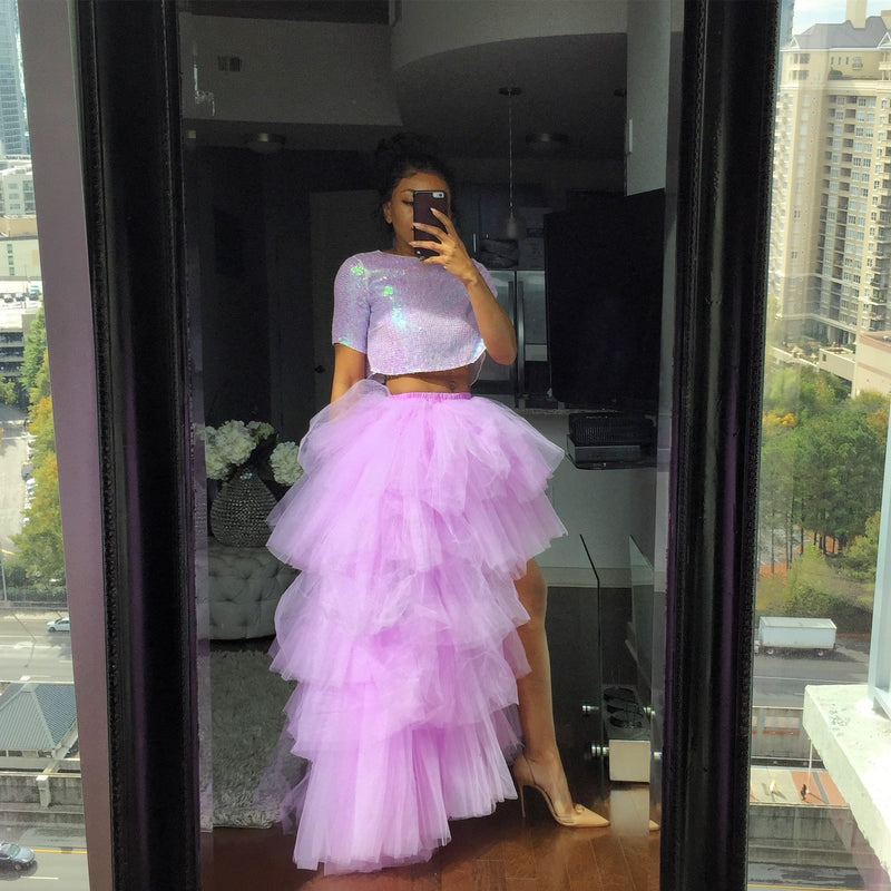 Oyemwen Tiered High Low Tulle Maxi Tutu Orchid Skirt Lavender