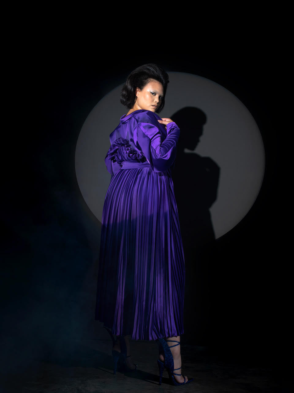 Harry Halim Bomb Purple Pleated Trench Dress