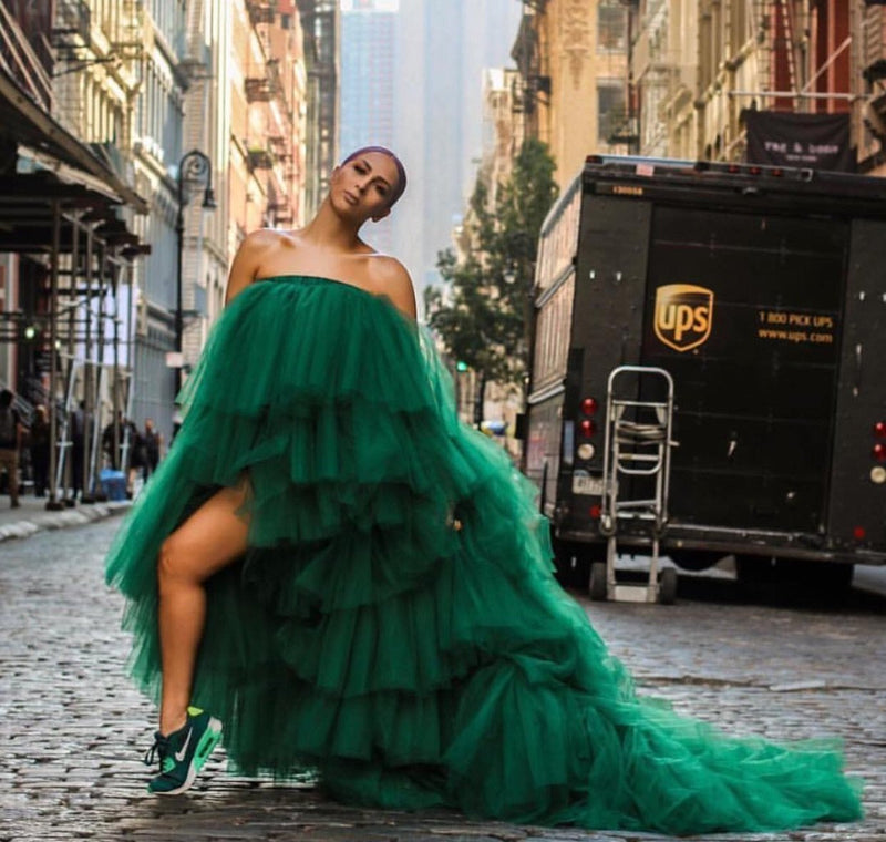 Oyemwen Veronica Tiered High Low Tulle Maxi Tutu Dress Green (Longer Train)