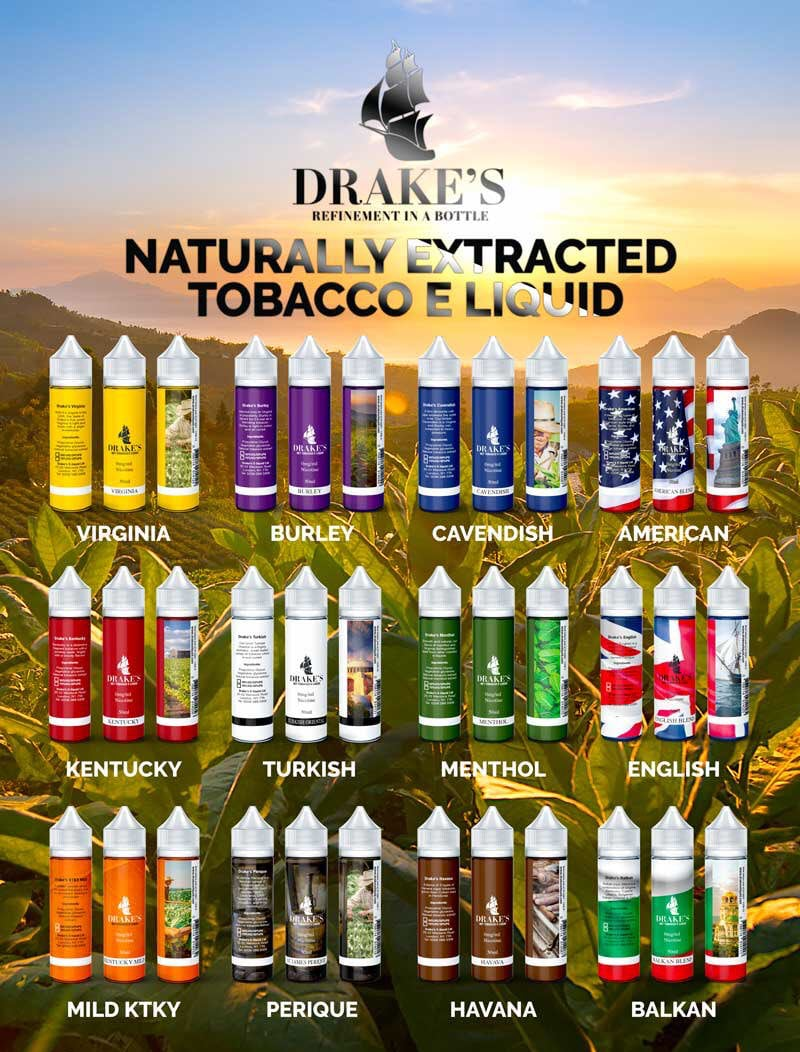 Drake's Naturally Extracted Tobacco eLiquids