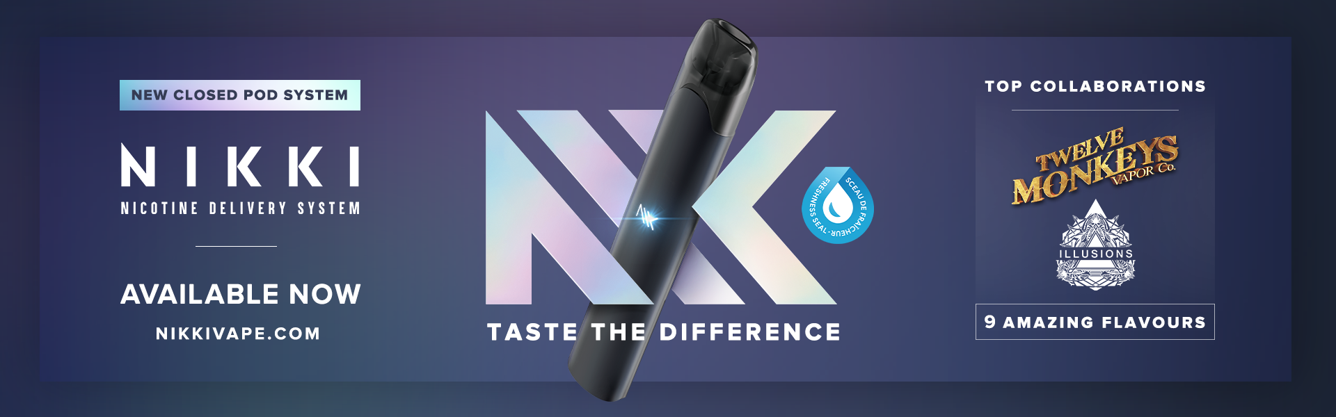 The New Nikki Pre-Filled Pod System for Twelve Monkeys and Illusions eJuice