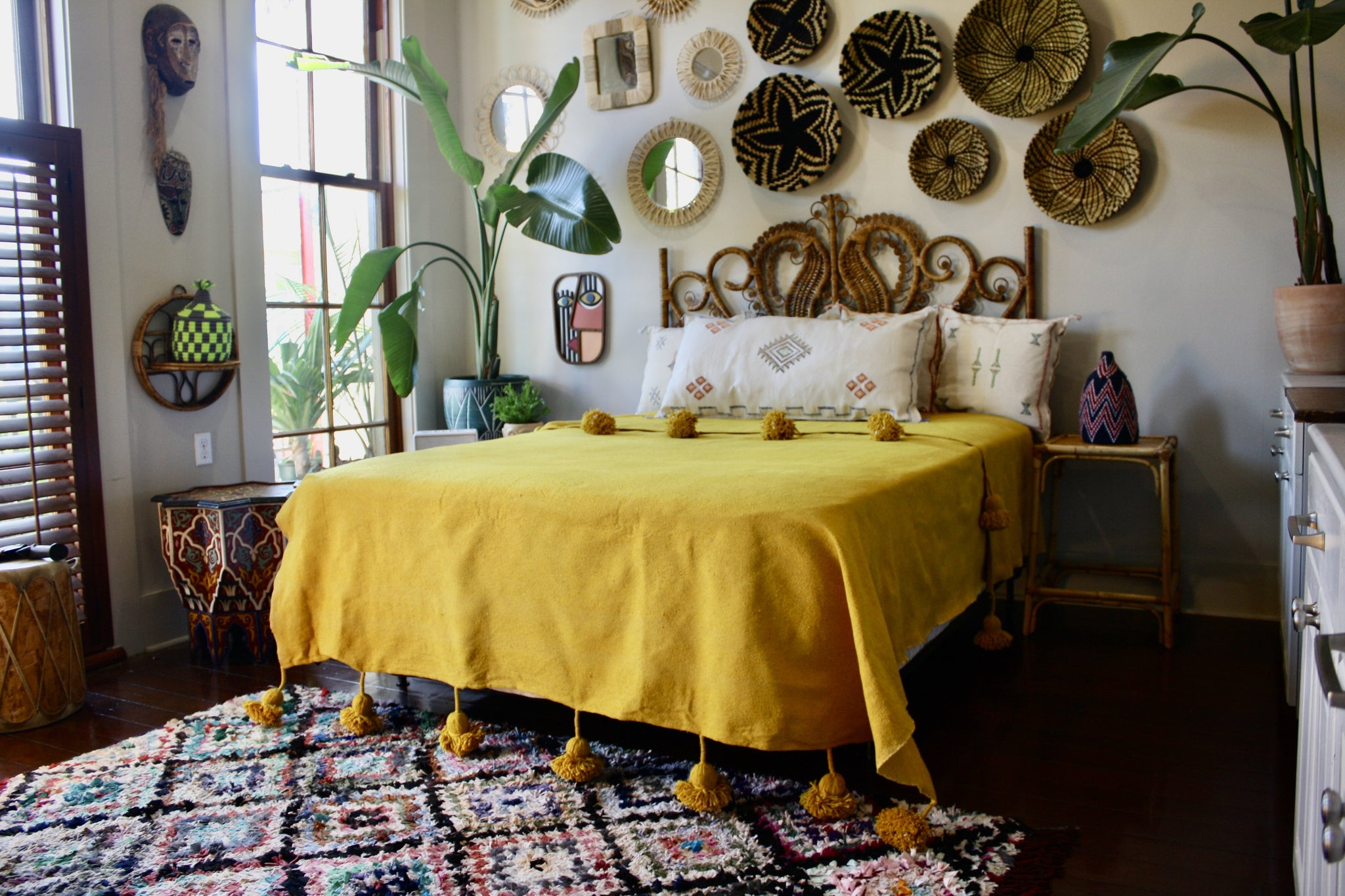 Handloomed Queen Size Pom Pom Cotton Bedspread Mustard