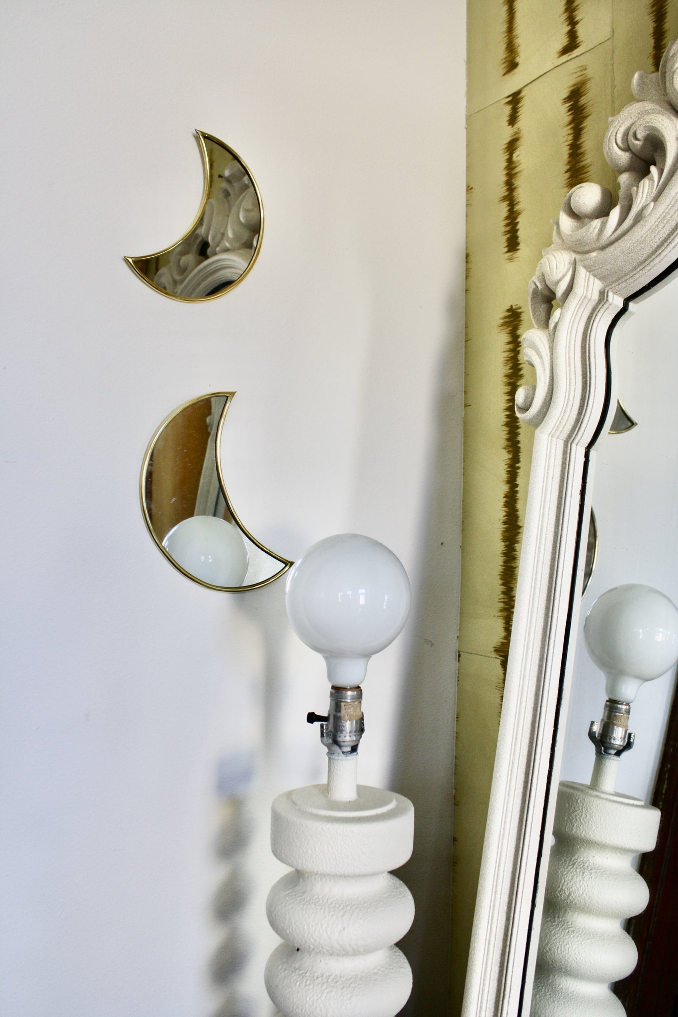 Set of 3 Small Crescent Moon Brass Mirrors Handmade in Morocco