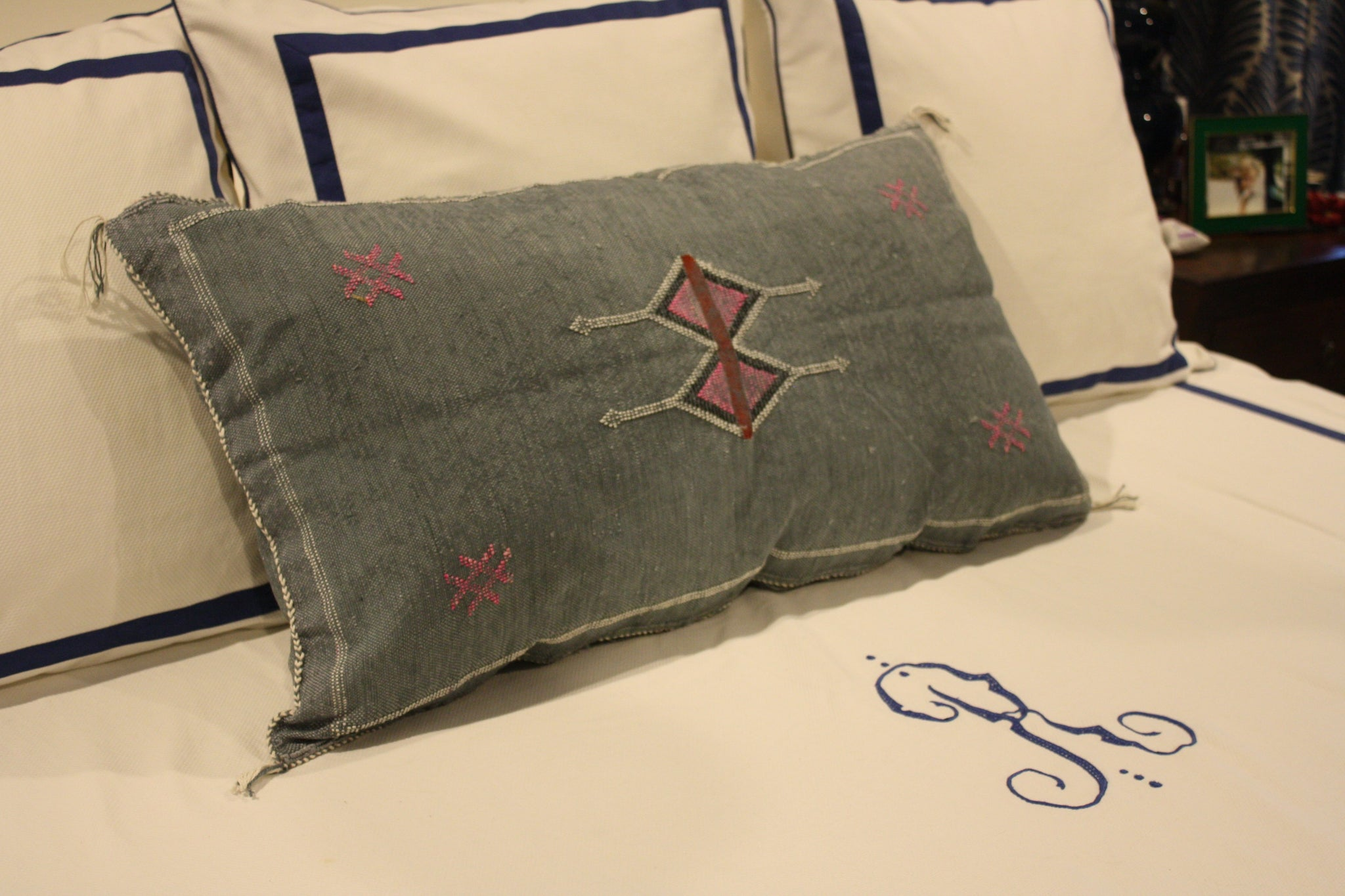Lumbar cactus silk pillow with insert handmade in Morocco 30' x 20' grey