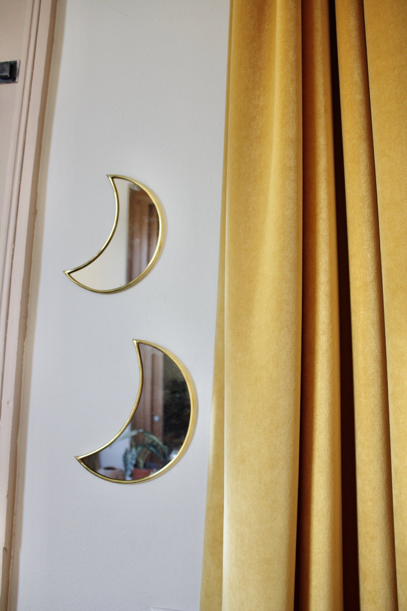 Set of 2 Small Crescent Moon Brass Mirrors Handmade in Morocco