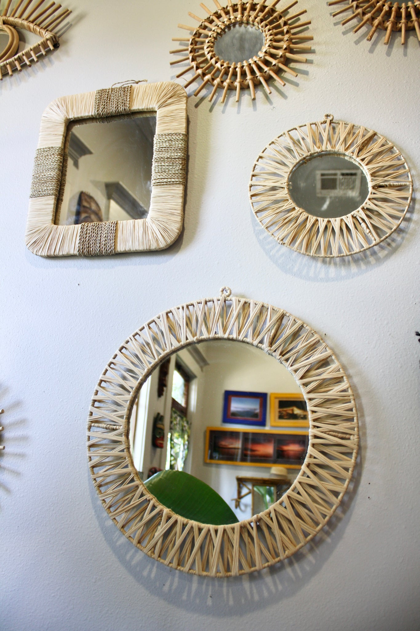 Round Raffia Mirrors - Set of 2