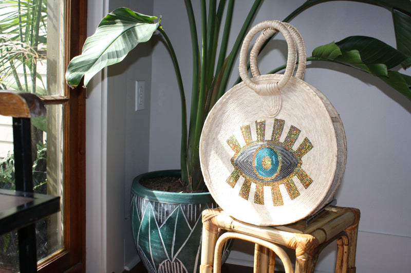 Gold Evil Eye Sequins Palm Bag