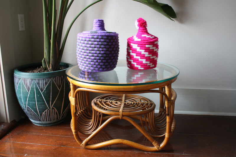 Set of 2 Moroccan baskets 11'x8' & 11'x6'