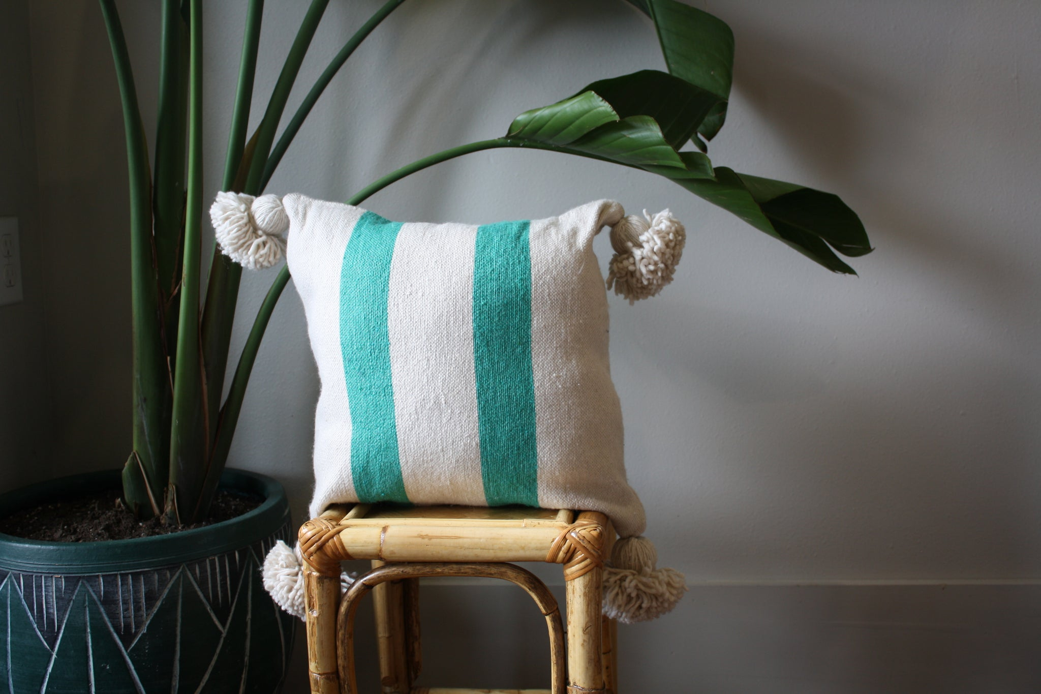 Pom Pom Cotton Pillow Cover - Handmade Morocco