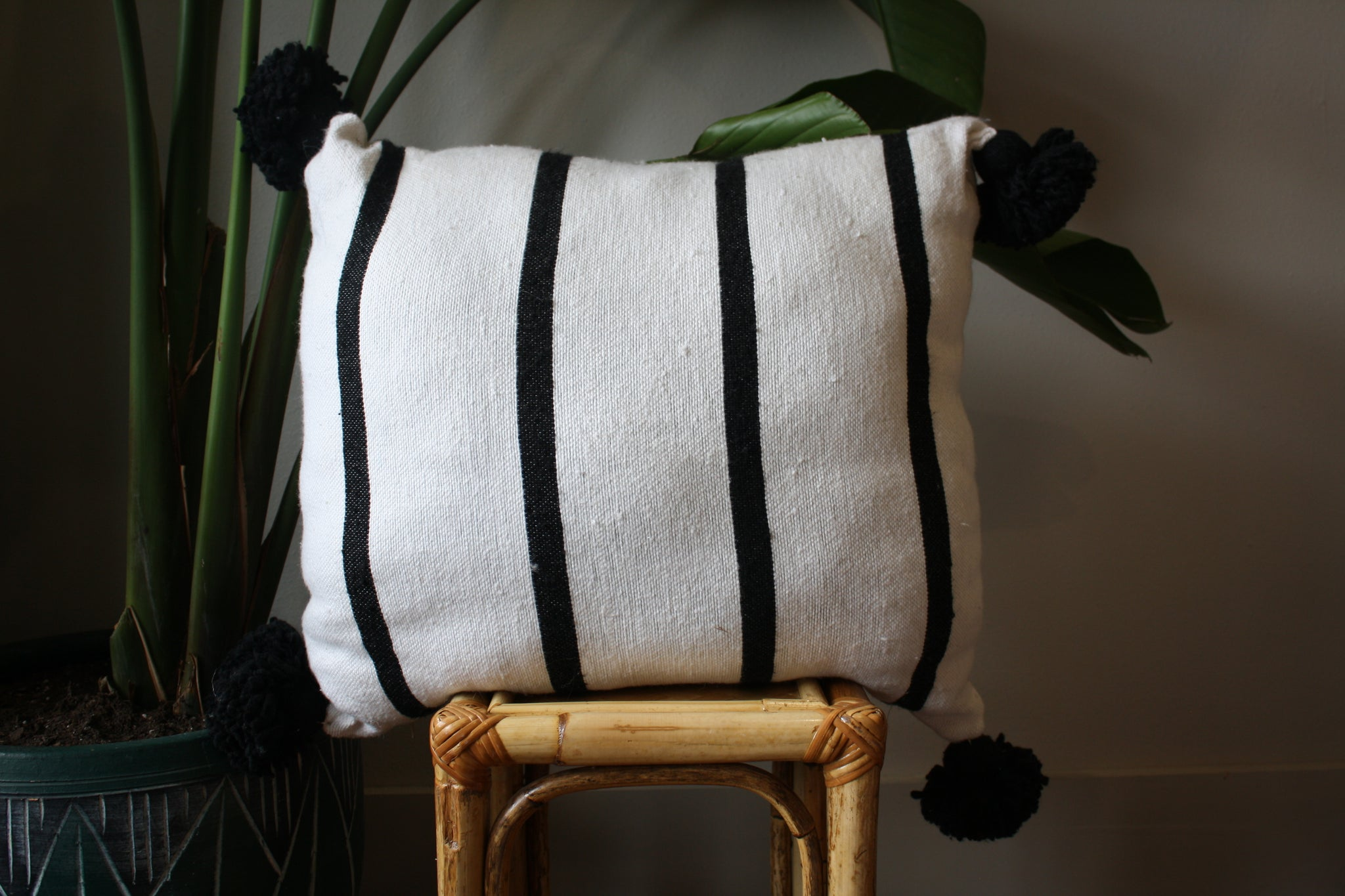 Pom Pom Cotton Pillow Cover - Morocco