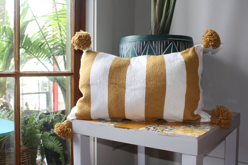 Moroccan handmade pillow cover - 100% Cotton Pillow cover  - Pom Pom on sides