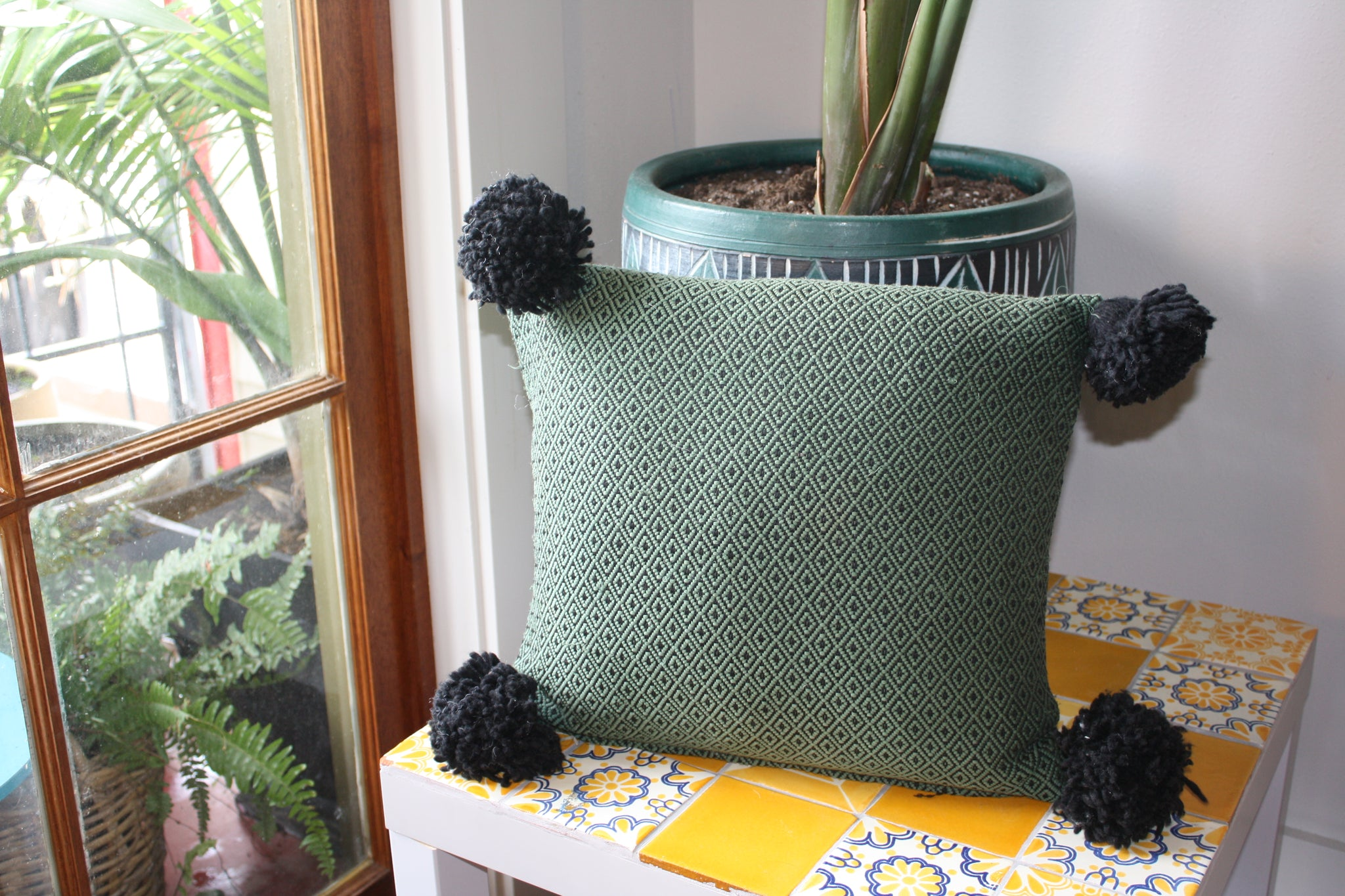 Green & Black Pom Pom Pillow Cover