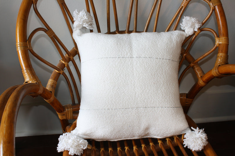 Pom Pom White Silver Stripes Cotton Pillow Cover