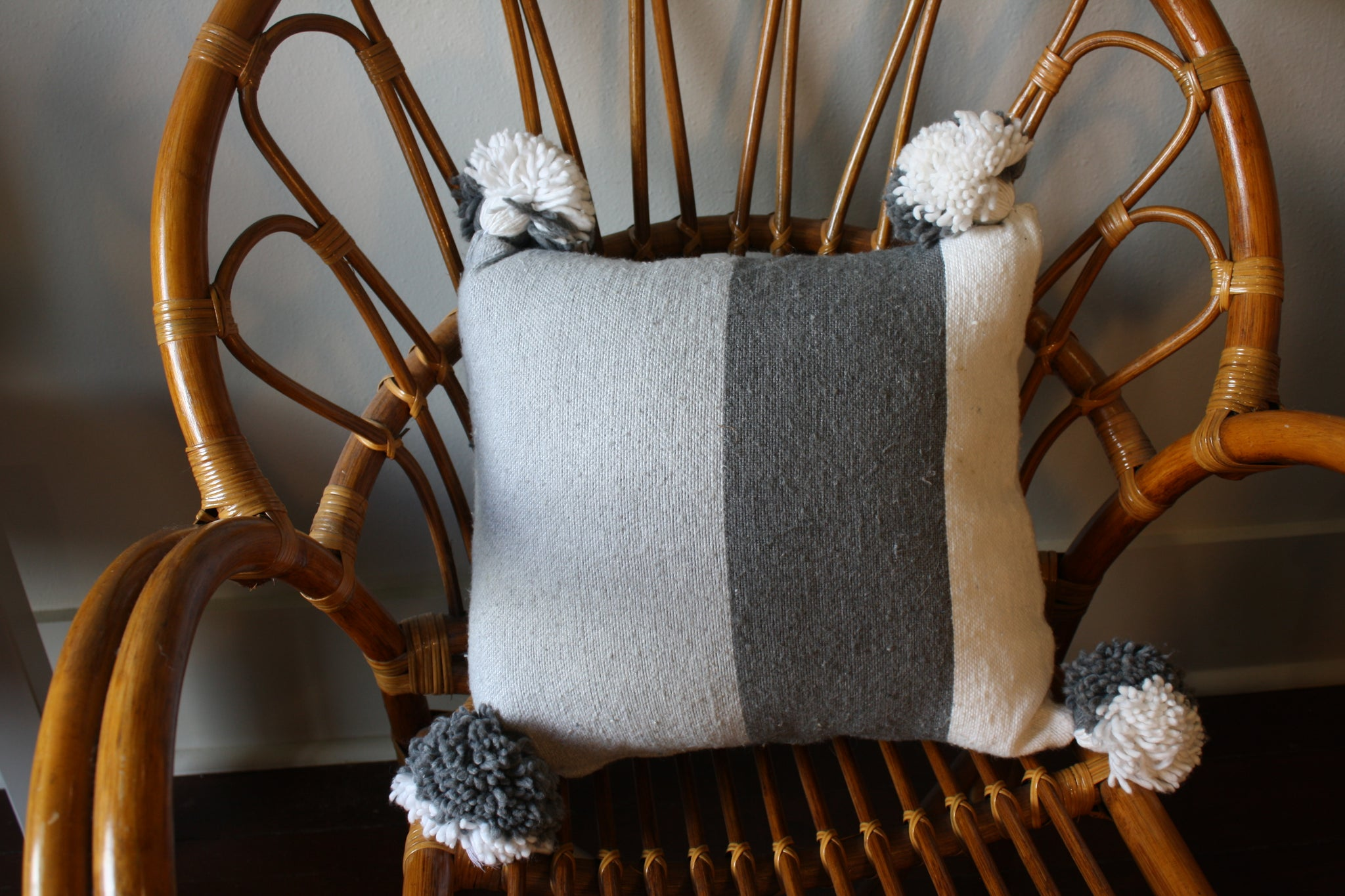 Pom Pom Cotton Grey White Stripes Pillow Cover
