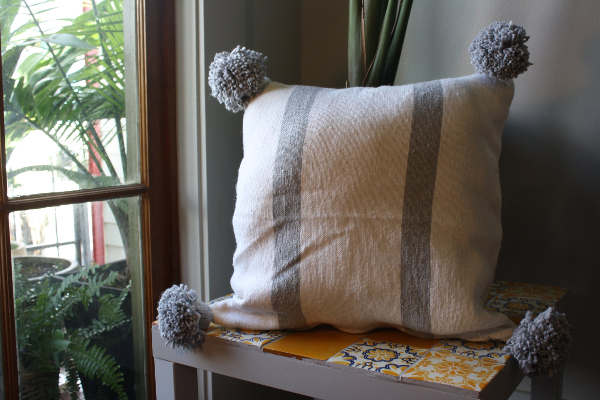 Pom Pom Cotton White Soft Grey Stripes Pillow Cover