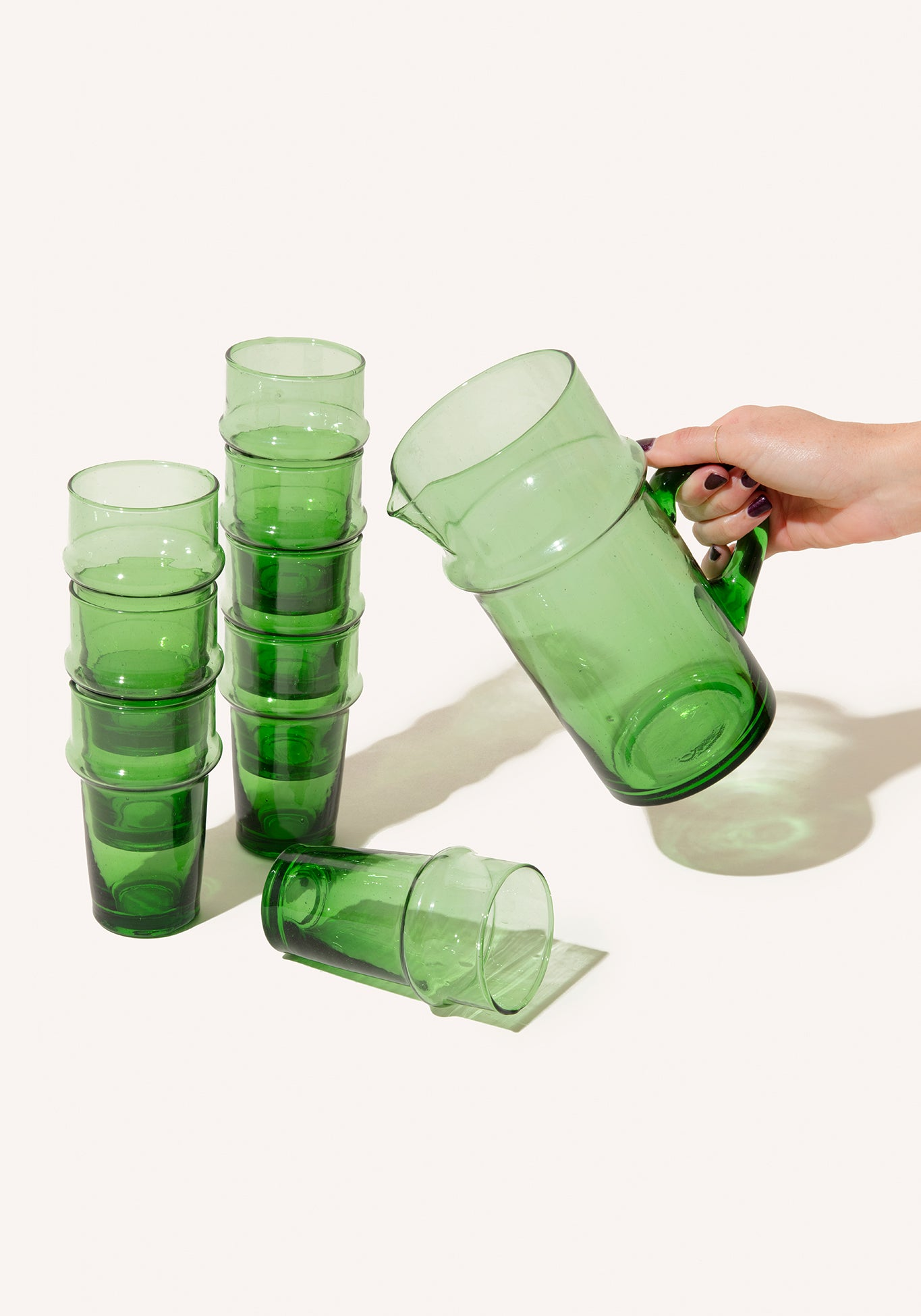 Palm Green Water Glasses + Pitcher